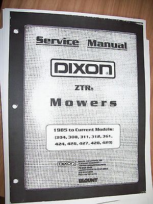 DIXON ZTR LAWN Mower Service Manual Trouble Shooting Wiring Diagrams
