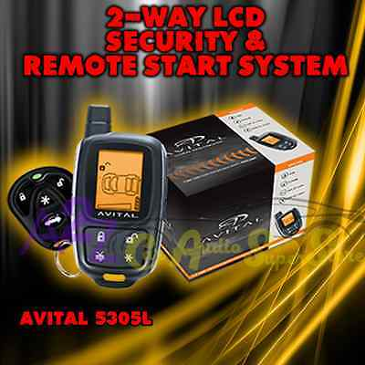 AVITAL 5305 2-WAY LCD Remote Start And Security Car Alarm System New