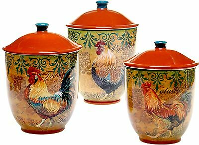 Rooster Canister Set 3 Piece Ceramic Hand Painted Kitchen
