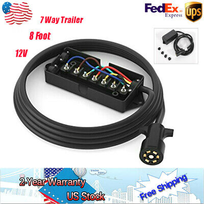 7-WAY TRAILER LIGHT Plug Wire Harness Molded End 8 FT Heavy Duty RV