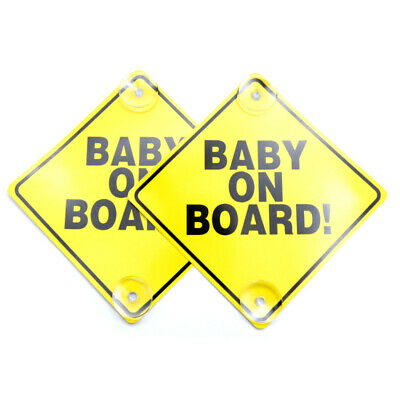 OLIVA (2 PACK) Baby on Board Car Sign with Suction Cup Baby Safety