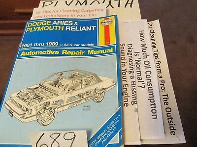 HAYNES # 723 Dodge Aries  Plymouth Reliant 1981-89 SHOP REPAIR