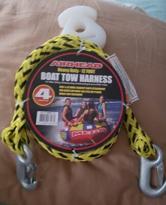 AIRHEAD HEAVY DUTY Boat Tow Harness 12ft 4 rider Tubing WakeBoard