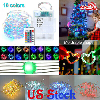 US 16 COLORS 4 Wires Multi-Color Changing LED String Lights Battery