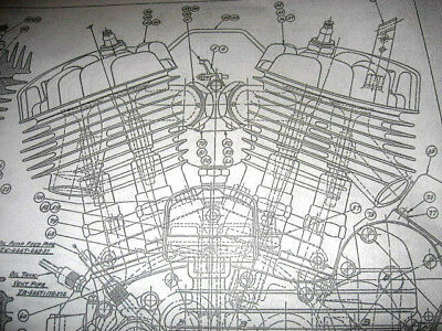 HARLEY DAVIDSON EARLY J Military Motorcycle Engine DIAGRAM BLUEPRINT