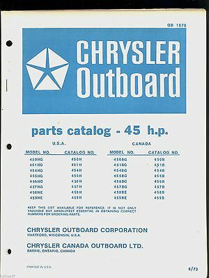CHRYSLER 45HP Outboard Motor Parts Manual / Ob 1878 - $1399 PicClick