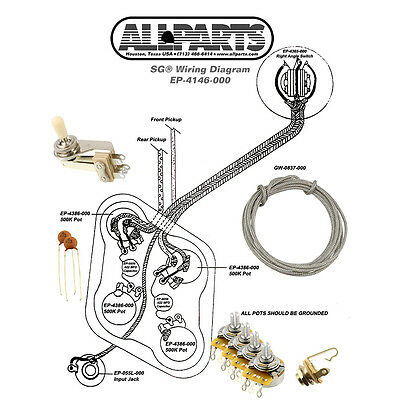 WIRING KIT-GIBSON® LES Paul Complete with Schematic Diagram Pots