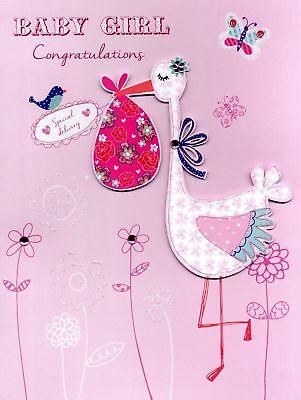 BABY GIRL CONGRATULATIONS Gigantic Greeting Card Embellished