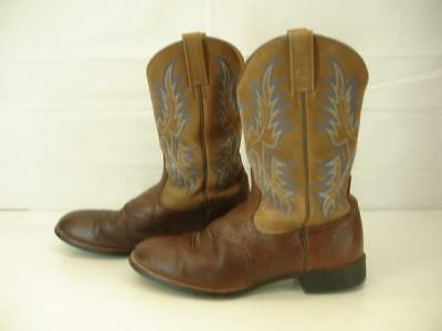 Mens 12 D M Ariat Barrel Brown Leather Stockman Cowboy