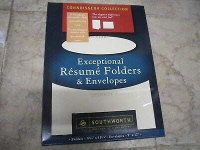 NEW ! SOUTHWORTH Exceptional Resume Folders/Envelopes Packet, Ivory