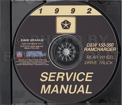 1993 DODGE PICKUP Truck Ramcharger Shop Manual Gas Diesel D and W