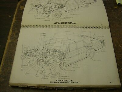 OEM FORD 1964 Wiring Diagram Book Falcon Fairlane Mercury