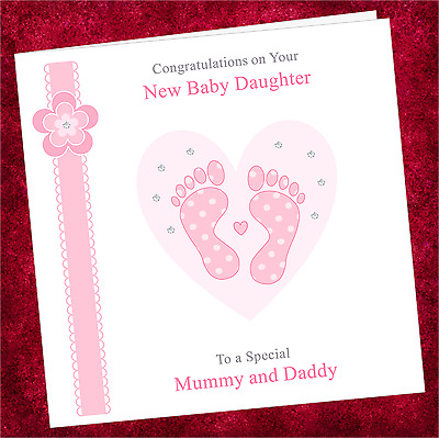 PERSONALISED BABY pink feet new born birth announcement