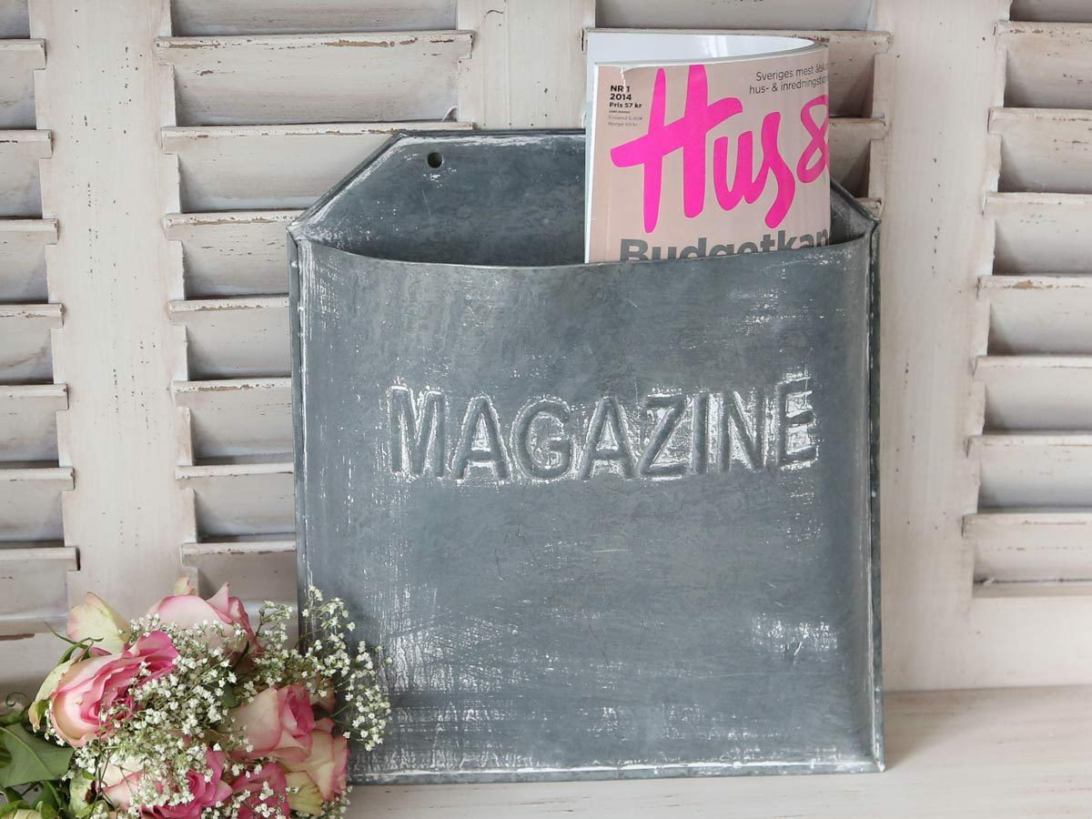 Rustic Zinc Wall Mounted Magazine Paper Rack Vintage
