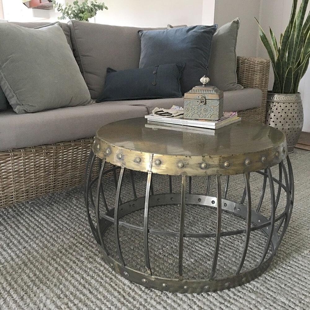 Dillon Barrel Style Coffee Table Antique Gold Metal Table