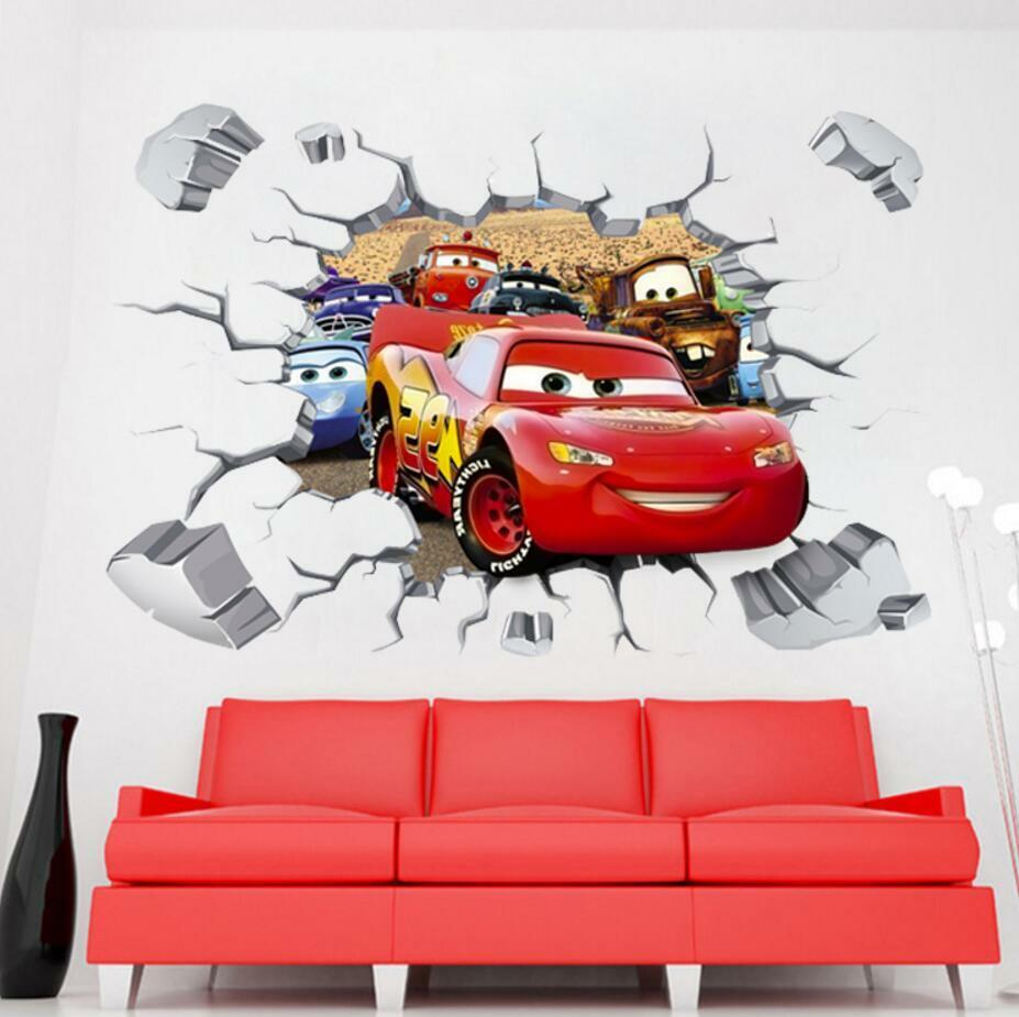 Disney 3D Cars McQueen Mater removable Wall Stickers Decal
