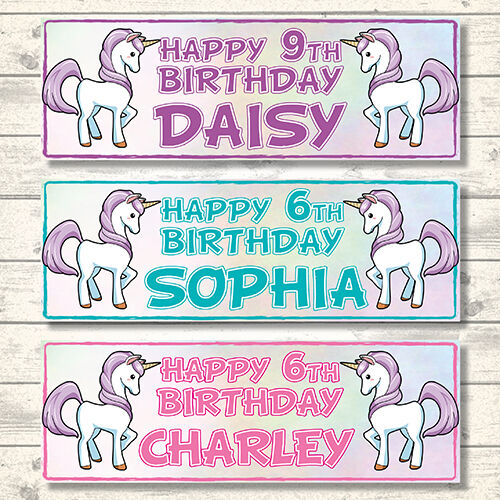 2 PERSONALISED UNICORN Birthday Banners - Any Name Or Age - 3