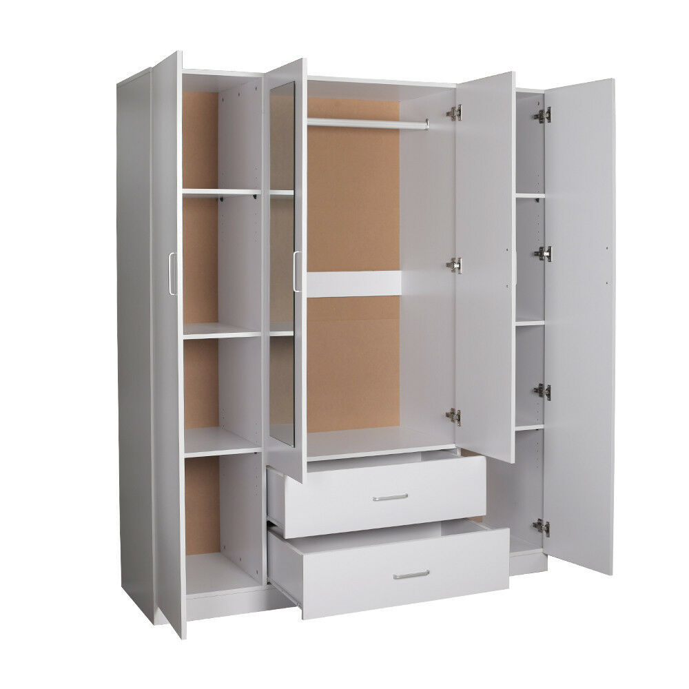 Redfern 4 Doors Mirrored Wardrobe Cupboard With 2 Drawers