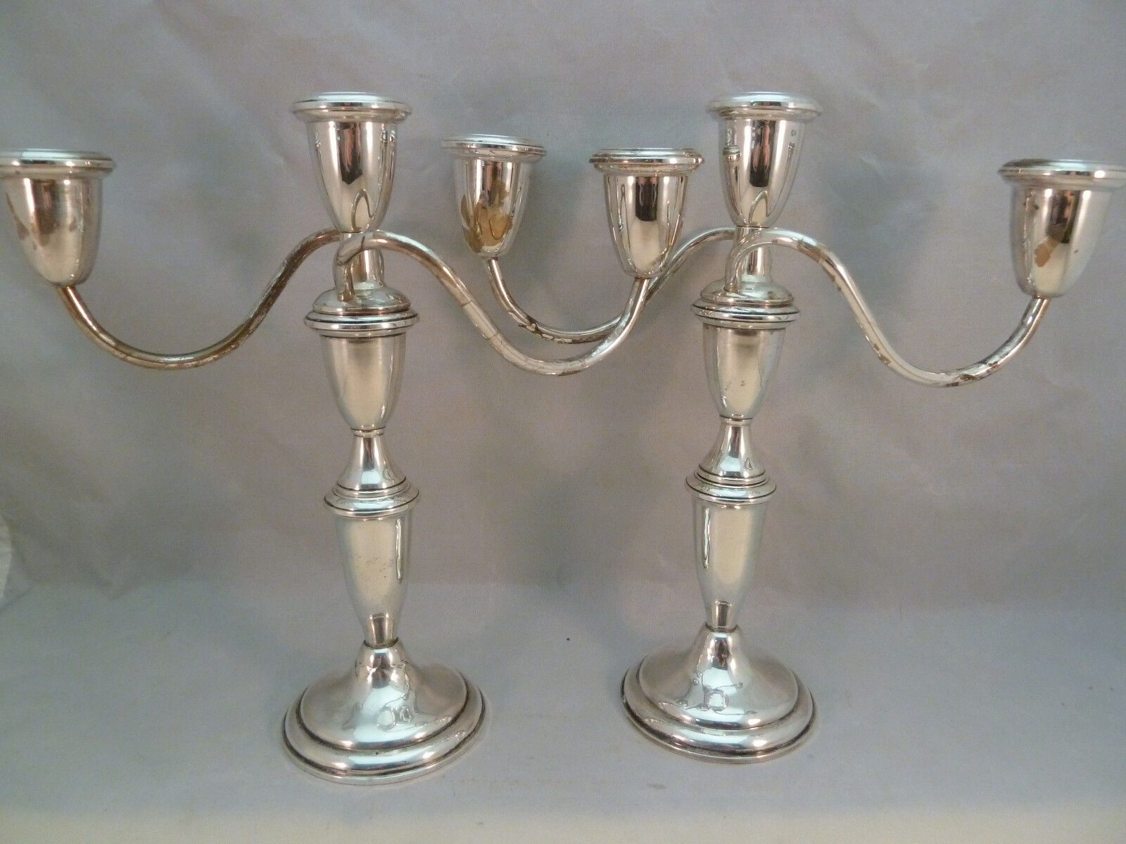 Vintage Empire Sterling Silver Weighted Pair 3 Candle