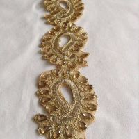 FANCY BEADED INDIAN VINTAGE Gold Lace Trim Wedding Sewing ...
