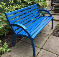 Vintage Cast and Wood Slat Blue Painted Garden Bench  30 ...