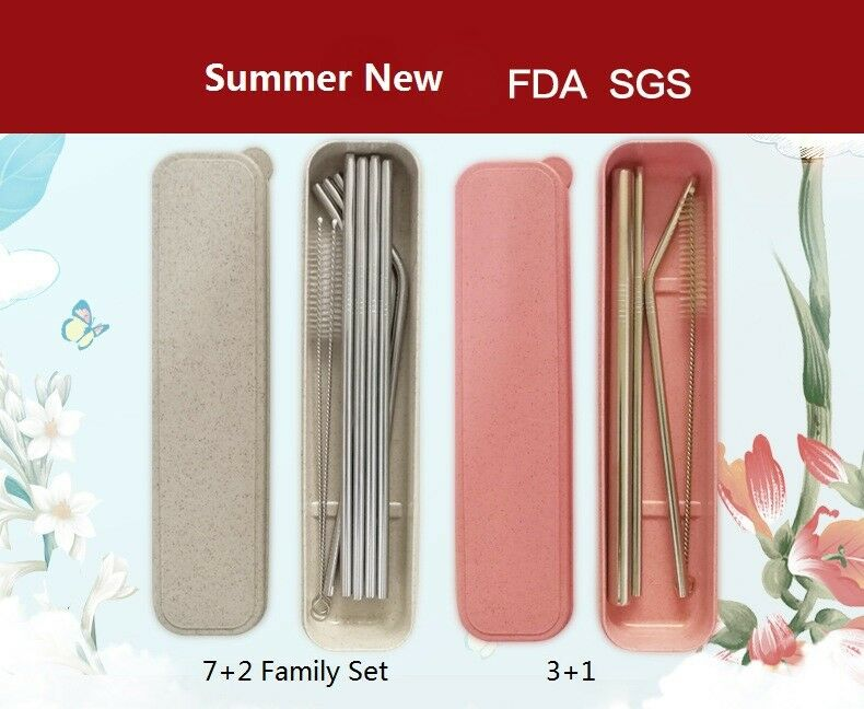 New Stainless Steel Metal Drinking Straw Reusable Straws