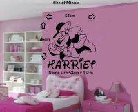 Personalised Minnie Mouse Removable Vinyl Wall Art Sticker ...
