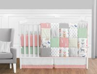 CORAL Pink Gray Mint Deer Woodland Girl Baby Bedding 9P ...