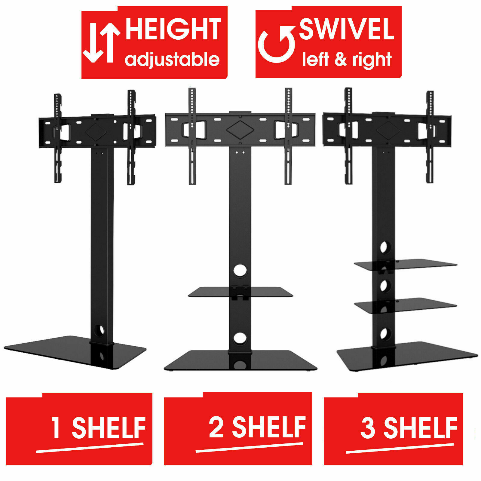 Mountright Glass Cantilever Tv Stand With Bracket 32 To 55