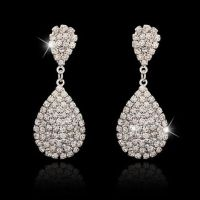 Long Crystal Drop Earrings Diamante Bridal Rhinestone