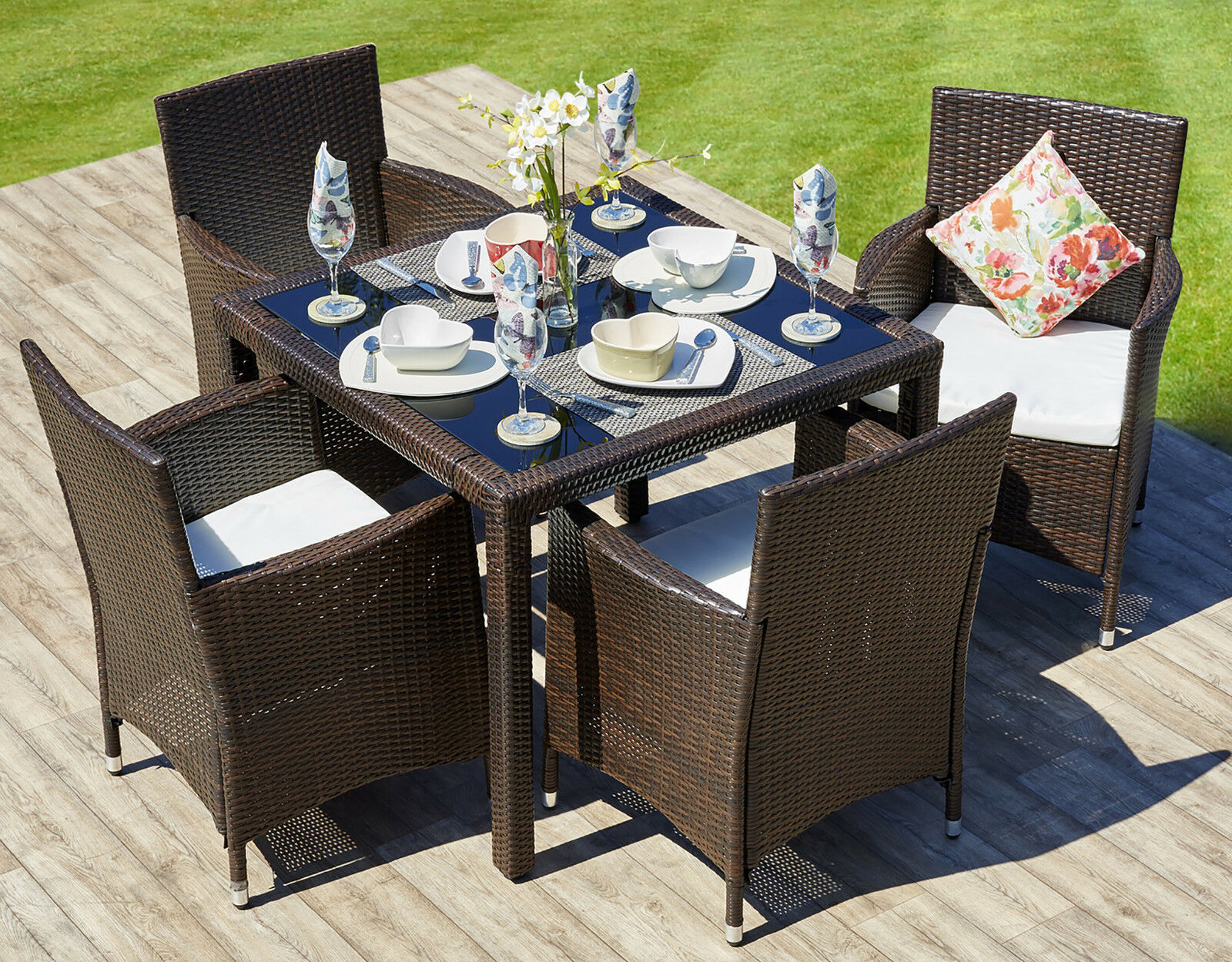 Rattan Outdoor Garden Furniture Dining Table Set 4 Chairs