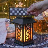 SOLAR POWERED Outdoor Garden Patio Table Hanging Candle ...