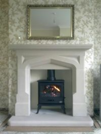 Multi Fuel Stove Stone Fireplace / Fire Place Surround