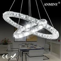 LED CRYSTAL Double Ring Pendant Light Chandelier Lamp ...