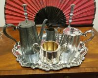 ANTIQUE VINTAGE SILVER plated 5 piece tea set with ...