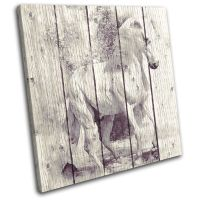 Horse Painting Vintage Animals SINGLE CANVAS WALL ART ...