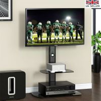 BLACK TV Stand Cantilever With TV Mount Bracket 32 - 65 ...