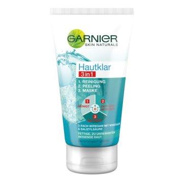 GARNIER Hautklar 3in1 Gesichtsreinigung + Peeling + Gesichtsmaske / Gesichtspflege gegen Pickel und Unreinheiten, 1er Pack - 150 ml - 1
