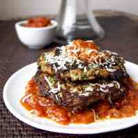 Zucchini Cakes with Parmesan and Tomato Sauce