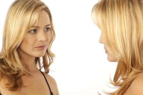 self-esteem looking in mirror