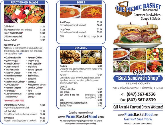 Contact Us - The Picnic Basket Restaurant (847) 367-8336
