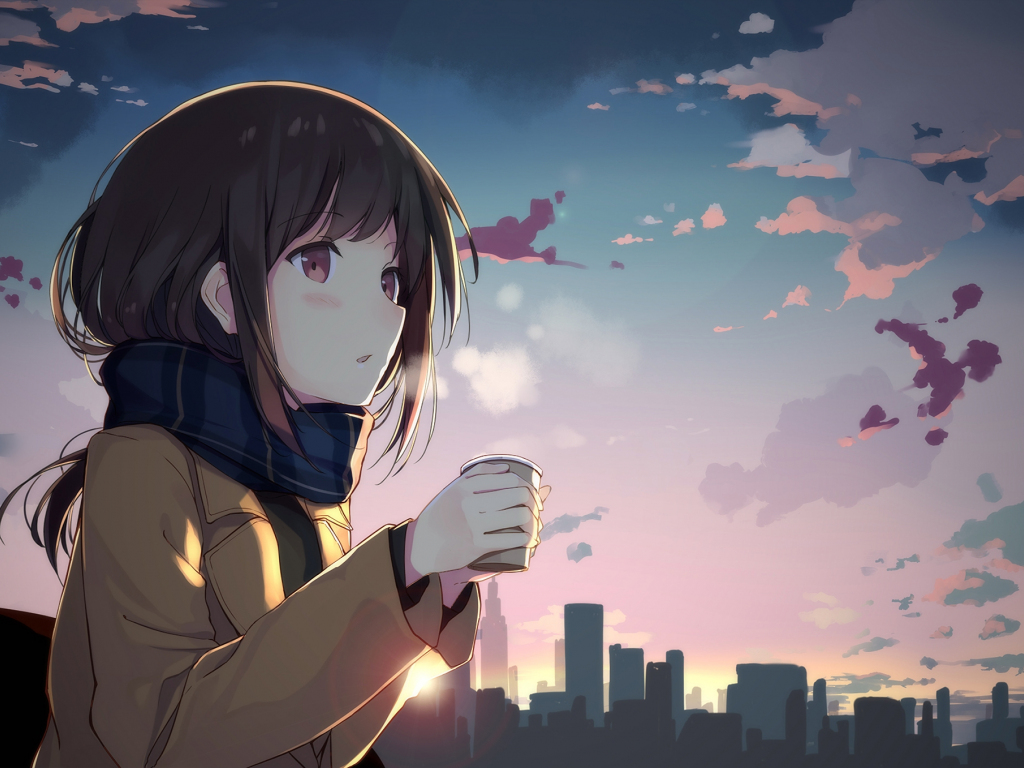 Cute Baby Pictures Desktop Wallpapers Desktop Wallpaper Cute Anime Girl Drinking Coffee Anime