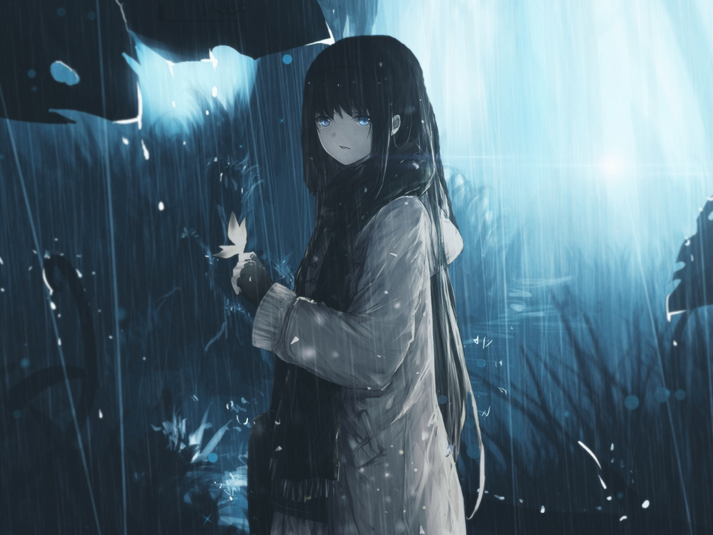 Hd Baby Girl Wallpapers 1080p Desktop Wallpaper Blue Eye Anime Girl Long Hair Rain
