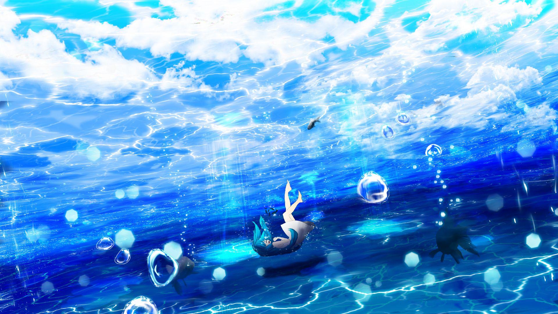 Cute Baby Girl Hd Wallpapers 1080p Desktop Wallpaper Underwater Dive Anime Girl Blue Hair