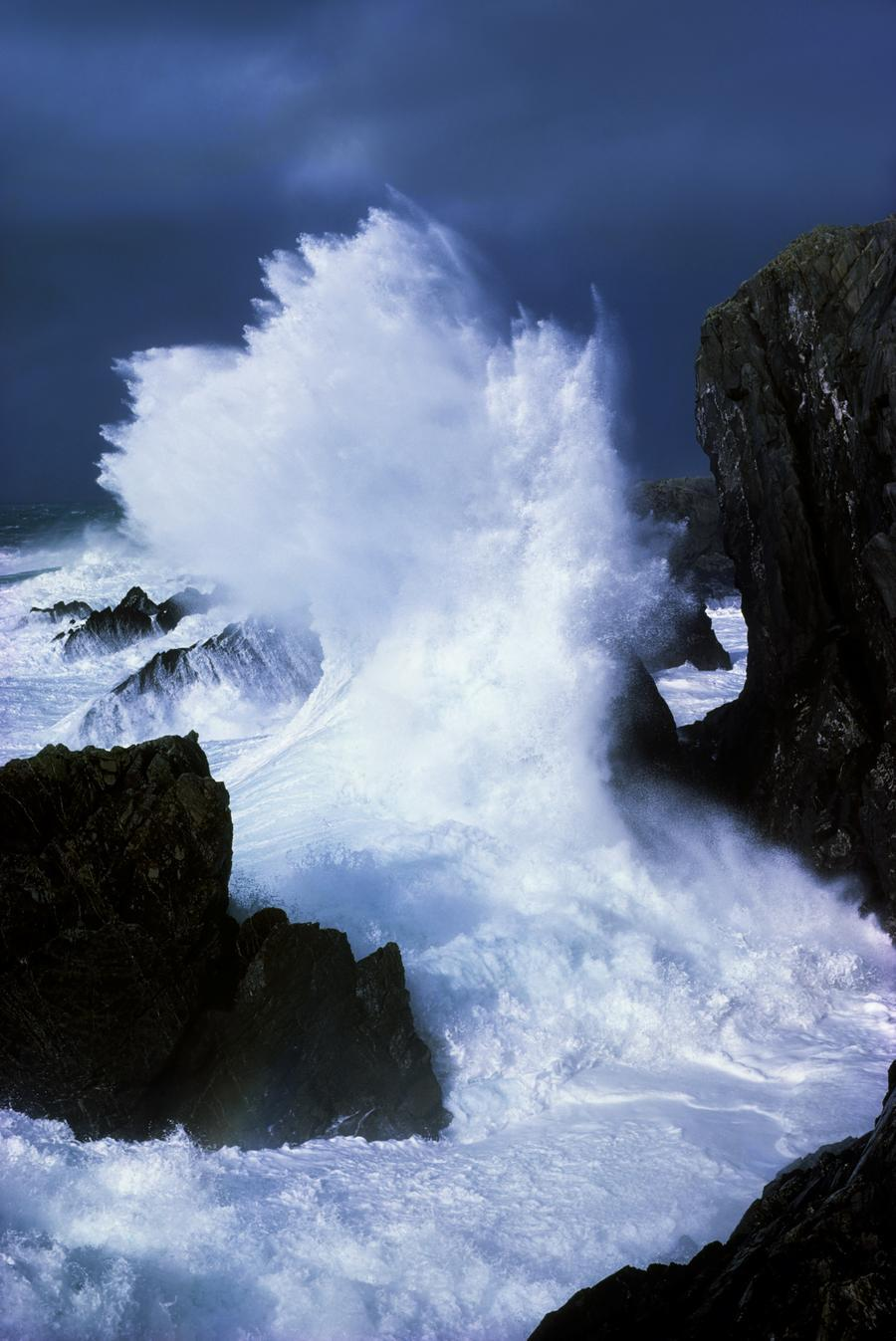 Black And White Wallpaper Living Room Ireland Waves Crashing On Rocks Pacificstock Canvas