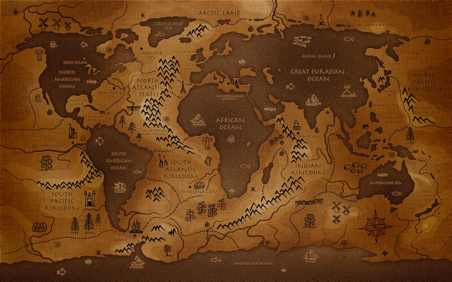Ancient World Map - WorldFlag Canvas