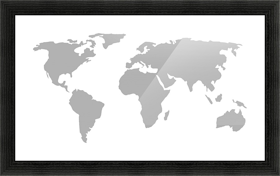 World Map Grey Style - WorldFlag Canvas - Black And Grey World Map
