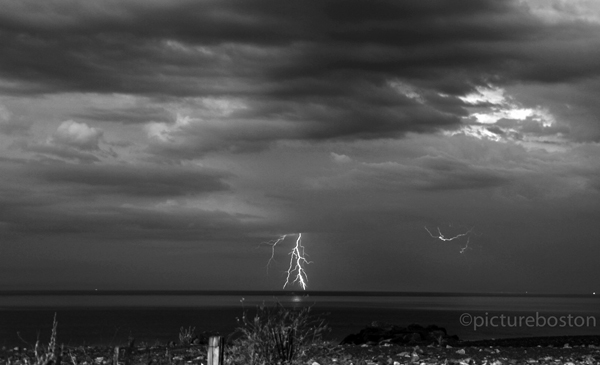 August 4, 2015. Lightning exits Massachusetts' coast, between Winthrop and Quincy.