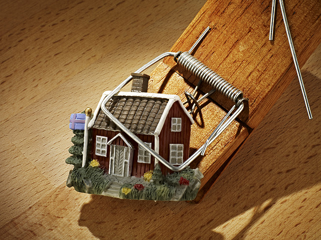 Model of a small house in a mousetrap.