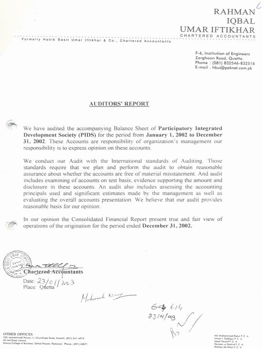 External Audit Report-2002